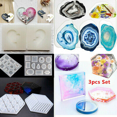 Silicone Necklace Pendant Jewelry Casting Making Mold DIY Coaster Resin Craft 3D
