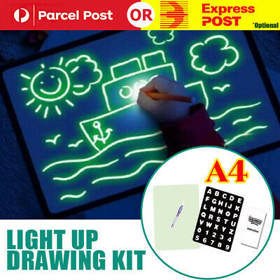 A4 Light Up Drawing Board Draw Sketchpad Board Kids Developing Toy Gift + Pen AU