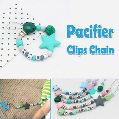 Dummy Clip Holder Baby Pacifier Clips Teething Silicone Beads Soother Chain Gift