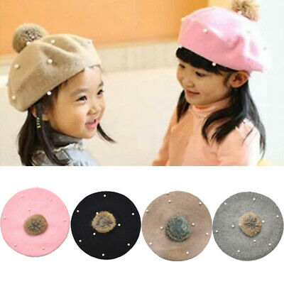 UK Baby Girls Beret Hats Pearl Braid Beanie Winter Warm Knit Fur Pom Bobble Cap