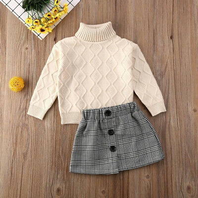 2PCS Kids Baby Girl Winter Clothes Turtleneck Knitted Sweater+Plaid Skirt Outfit