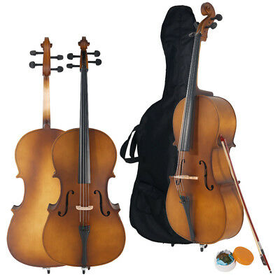 New 4/4 Professional Wood Acoustic Cello for Beginner + Bag+ Bow+ Rosin+ Bridge