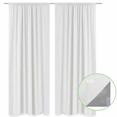 vidaXL 2x Blackout Curtains Double Layer 140x175cm White Window Drapes Blinds~