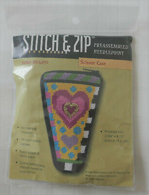 "Stitch & Zip ""Hearts"" Needlepoint Scissor Case"