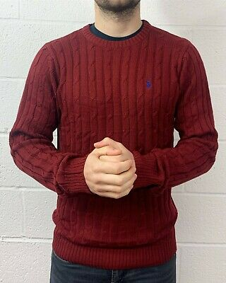Polo Ralph Lauren New Men's Cable Knit Crew Neck Jumper Wine Red Thick Cotton