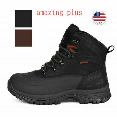 Mens Winter Warm Lace Up Waterproof Snow Boots Outdoor Hiking Ankle Work Boots