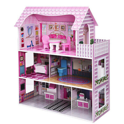 Large Children's Wooden Pink Dollhouse Fits Barbie Doll House W/ 8Pcs Furniture
