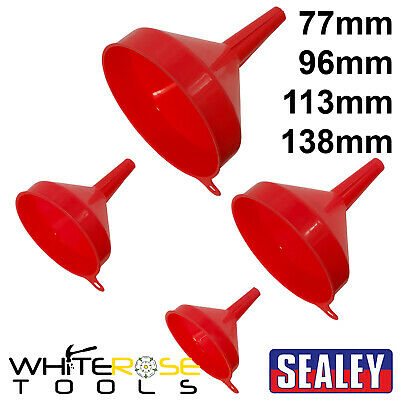 Sealey Funnel Set Fixed Spout 4pc 77mmm-138mm Fluid Transfer Plastic Pouring