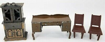 Vintage Dollhouse Miniature Tootsie Toy Metal Desk 1977 Durham Cabinet LOT OF 4
