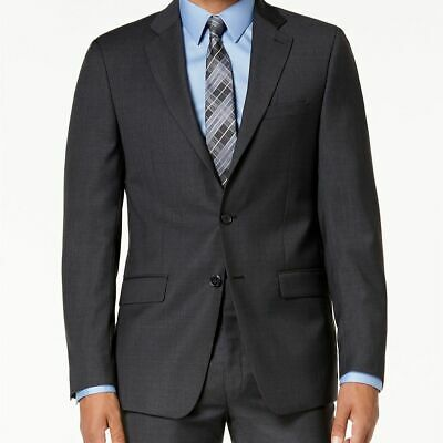 $550 Calvin Klein Mens 46L Gray Blue Slim Fit Wool Jacket Plaid Suit Coat Blazer