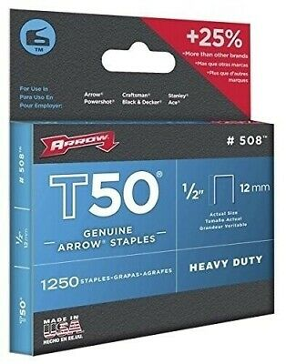 GENUINE ARROW T50 HEAVY DUTY STAPLES - (PACK OF 1250) - 12mm