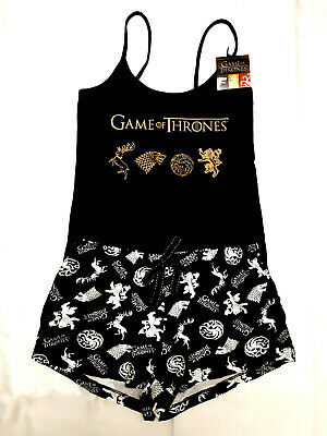Game Of Thrones Official Black Ladies Top & Shorts Pyjama Set Pj's Bnwt Primark