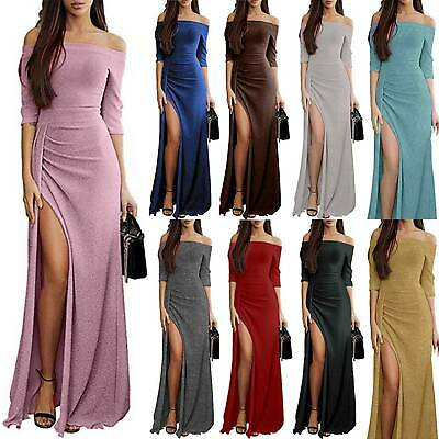Womens Off Shoulder Slit Dresses Ladies Evening Party Cocktail Formal Maxi Dress