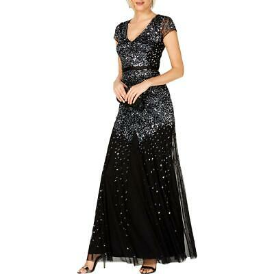 Adrianna Papell Womens Black Embellished Mermaid Formal Dress Gown 6 BHFO 8763