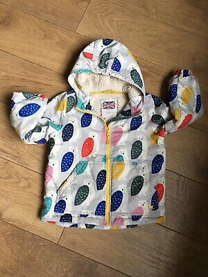 Mini Boden Shearling Fur Lined Coat Age 6-7 Girls Owl  Print Hooded Good Con