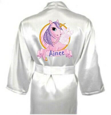 Personalised Dressing Gown UNICORN with name AIMEE Ivory Silky Satin 12-13 yrs