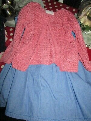 little girls outfit dress and cardigan age 5-6 years next