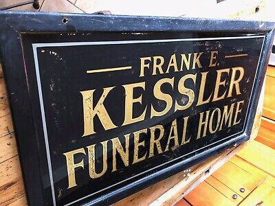 Antique Funeral Home Mortuary Sign, Trade Sign, Window Display