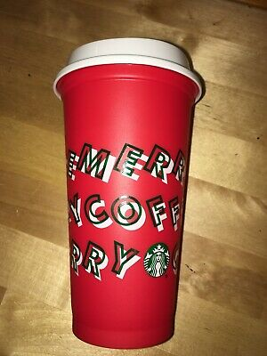 Starbucks 2019 Red Reusable Cup Grande 16oz MERRY COFFEE Christmas Limited Edit.