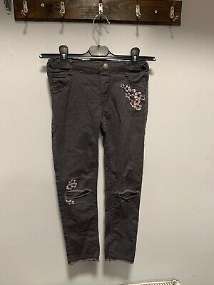 H&M Girls Floral Ripped Skinny Jeans Size Age 7-8 Years Excellent Condition