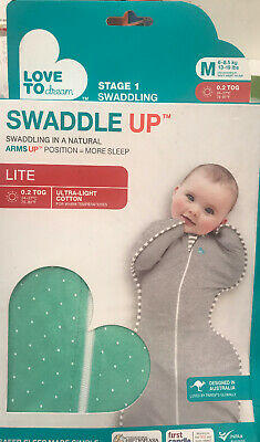 Love to Dream Swaddle UP Lite Mint Green Medium 13-19 lbs 3-6 Months .2 Tog- NEW