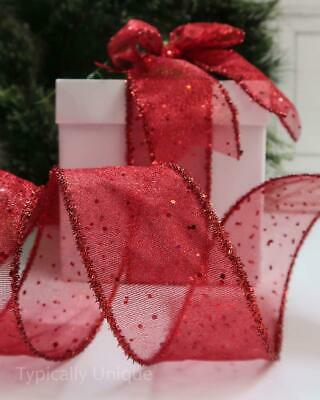 1 Metre Christmas Quality Red Glitter Ribbon Wire Edged  Gift Wrapping 'Joy'