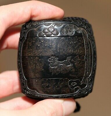 antique Japanese rare carved ebony & lacquer Inro, Meiji, 19th century, SUPERB.