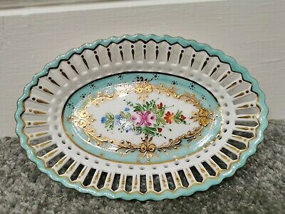 Stunning Roselle Occ & Co Staffordshire Hand Painted Guilded Dish With...