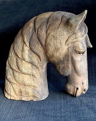 Horse Wood Sculpture ~ hand-carved,circa 19th-early 20th century ~ rare find
