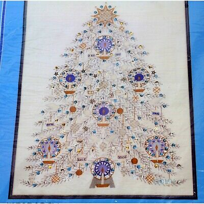 TREE OF PEACE Christmas Holiday Paragon Crewel it White Fabric Sequins Beads
