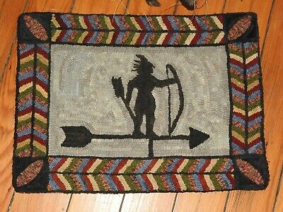 Primitive Hooked Rug Pattern On Linen ~ Indian Weathervane