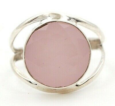 Faceted Rose Quartz 925 Solid Sterling Silver Ring Jewelry Sz 9.5 D23-4
