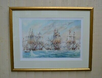 Battle of Trafalgar Print David C Bell Limited Edition 28/200 Signed Certificate