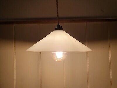 Genuine Vintage White Opaline Glass Coolie Pendant Lampshade