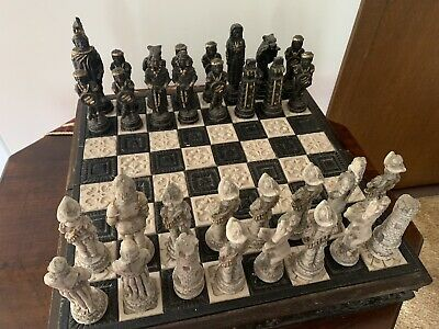 Antique Set  Old  Carved Turned  Chess Pieces  And Wooden Case. Heavy.