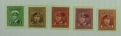 1942  Canada SC #263-67 KING GEORGE VI  Complete Coil set   MH stamps