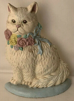 Vintage Cast Iron Kitty Cat Doorstop White w Floral Garland Wreath 8.25""