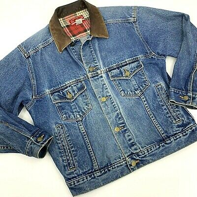 Vintage Mens Marlboro Country Store Jacket Size Small Blue Denim Button Front