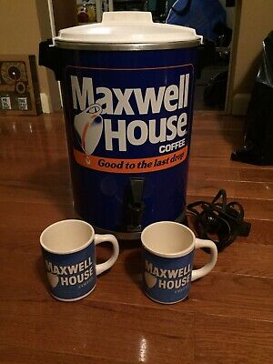Vintage MAXWELL HOUSE West Bend Promo 30 Cup Coffee Percolator Maker WITH MUGS