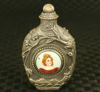 rare old copper mechanical movement watch clock snuff bottle maid statue gift