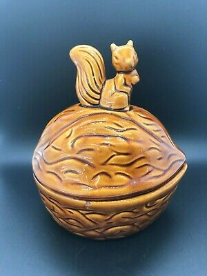 Vintage Ceramic Squirrel Walnut Cookie Jar/Candy Dish/Nut Bowl Canister with Lid