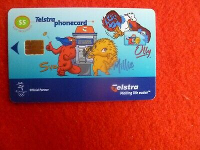 Sydney Olympic Mascots $5 Telstra  Phonecard Used