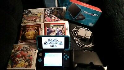Nintendo 2DS XL - Black/Turquoise bundle with Five Games, Charger and More