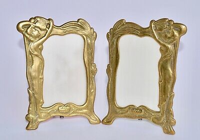 Attractive Pair of Antique Art Nouveau Brass Photo Frames - Ladies Water Lilies