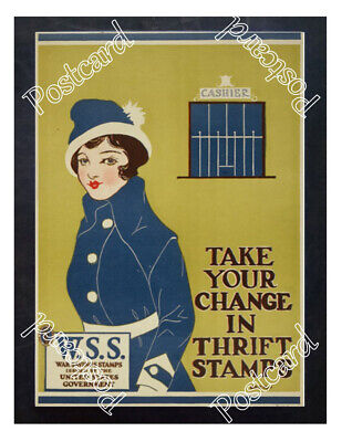 Historic WWI Recrutiment Poster Thrift Stamps- War Savings Stamps Postcard