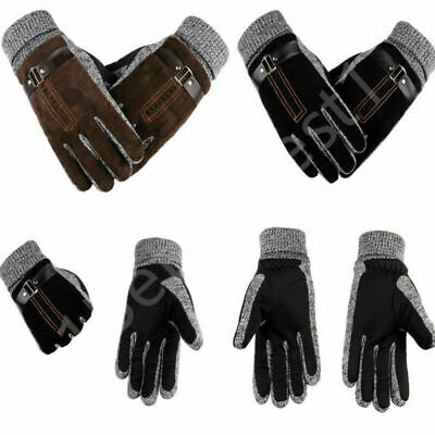 Men's Winter Leather Gloves Scrub Pigskin Windproof Gloves For Driving Cycling