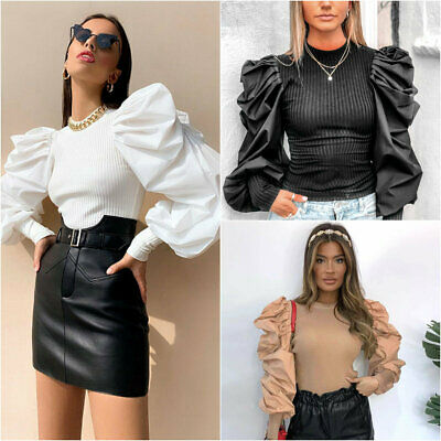 Women Ladies Puff Sleeve Tops Pullover Sweater Blouse Baggy Jumper Ribbed Shirt