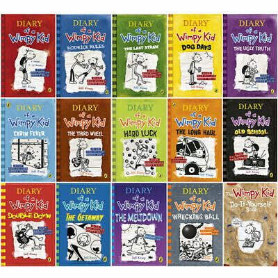 Diary Of A Wimpy Kid Collection 15 Books Set By Jeff Kinney Getaway,Wrecking NEW