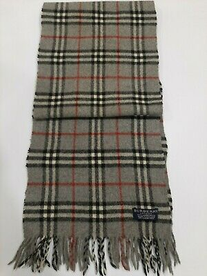 Genuine Burberrys Vintage Classic Nova Check Grey 100% Lambswool Scarf