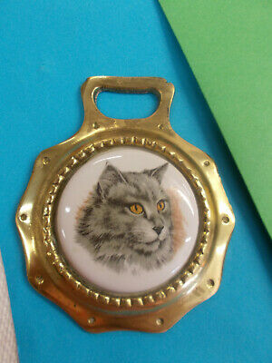 Antique Horse Brass With Ceramic Center - Cute Grey Cat / Hang On Wall # 56